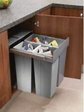 RECYCLE BIN PULL OUT KITCHEN CABINET CUPBOARD WASTE BIN INTEGRATED 600mm 68 LTR