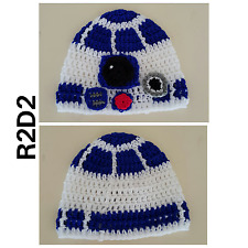 Hand crochetted R2D2 (Star Wars inspired) beanies - newborn to adult sizes