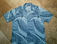Cubavera Button Front Short Sleeve Shirt Viscose Rayon Floral Blue XL