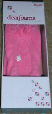 Dearfoams Microfiber Terry Floral Ballerina Slippers Pink Size XL (11-12)-NIB
