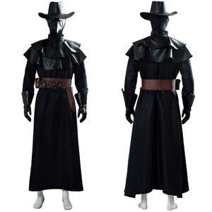 Steampunk Plague Doctor Bird Beak Cosplay Halloween Costume Long Robe Cape