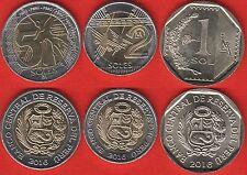 Peru set of 3 coins: 1 - 5 soles 2016 UNC