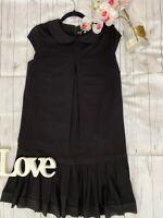Twin Set Simona Barbieri Size M 10 12 black jersey drop waist black dress collar
