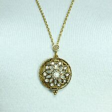 N0056 Antique Gold Tone Flower Design Round Magnifying Glass Pendant Necklace