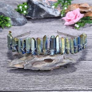 Women Natural Quartz Crystal Headband Chain Hairband Hoop Crown Hair Accessories