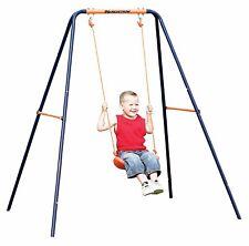 Heavy Duty Hard Plastic Swing Seat with Rope Set Kids Outdoor Fun Play Random