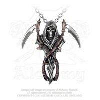 ALCHEMY ENGLAND Gothic Steampunk Pewter Skeleton Pendant NECKLACE Reaper's Arms