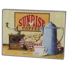 """Beautiful Rustic Primitive Box Sign """"Sunrise Coffee"""" Rooster Kitchen home decor"""