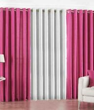 New Polyester Long Crush 3 Piece Curtain Set - 2 Pink 1 White - 5ft
