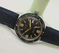 USED VINTAGE TIMEX 200 FEET DIVER BLACK DIAL DATE MANUAL WIND MAN'S WATCH