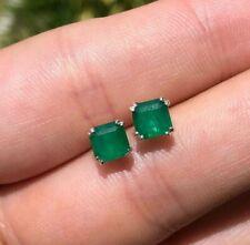 1.19tcw Dark Green Asscher Cut Emerald Earrings Sterling Silver 925