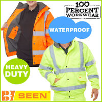Heavy Duty Waterproof High Visibility Bomber Jacket Coat Fleece Lining Hi Vis