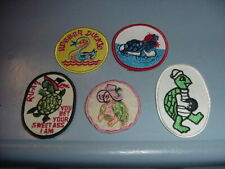 5 VINTAGE PATCHES RUBBER DUCKIE & TURTLES LOT M 1960s 70s 80s USED & UNUSED