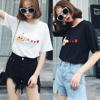 Summer Fashion Womens Heart print casual T-shirt short sleeve Blouse Tee Tops