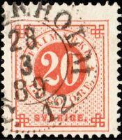 """SUÈDE / SWEDEN / SVERIGE - """"STOCKHOLM C.12"""" (1889) ds on Facit 46c/ Mi.34"""