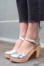 Swedish Hasbeens Merci Clog Silver Leather Heel Sandals Size 39