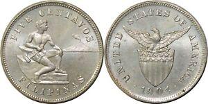 1904 US/Philippines 5 Centavos ~ Choice BU ~ Allen#4.02 ~ QP388