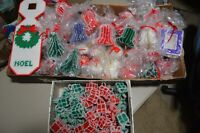 Lot of 100 Vintage Hand Made Yarn Plastic Canvas Christmas Ornaments Tree Bells