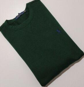 POLO Ralph Lauren Mens Fleece Crew Neck Sweatshirt Jumper, Green, Size Medium