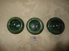 3 bottoni verdi  cm. 3  (2) Vintage Knoepfe Boutons Buttons ^
