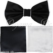 Wedding White Black Pre-tied Bow tie & Pocket Square Hanky Two Layers 3pc set
