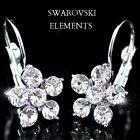 boucles d'oreilles fleur plaqué or blanc 18 k ornées Swarovski® Elements de luxe