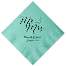 100 Personalized Napkins Mr & Mrs  Premium 3 Ply Napkins Cocktail Beverage