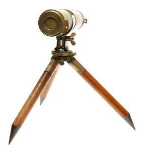 Antique Brass Wood Telescope 300-900mm Tripod Late 19th Century