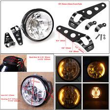 7'' Motorcycle White LED Headlight Amber Turn Signal Light Black Mount Bracket