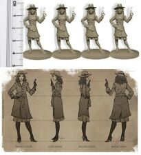 D&D RPG Fantasy Miniatures Unpainted Female Investigator Miniatures x 4
