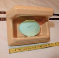 Vintage *Peachy-Suntan* Ceramic Soap Dish with Grab Bar by The Fairfacts Co. NOS