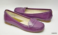 New Michael Kors WINSOR Patent Leather Penny Loafer Flat Slip-On Moc ~Berry *7