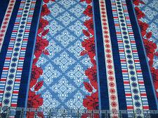 3 Yards Quilt Cotton Fabric - Quilting Treasures Nantucket Poppy Pattern Stripe