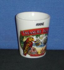 """ANNE"" Treasure Island, Las Vegas, NV with Parrot on 1oz Ceramic Shot Glass -NEW"