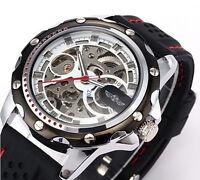 Herrenuhr Skeleton Automatisch Armbanduhr Winding Mechanisch Analog ArmyWatch DE