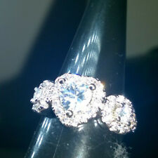 RADIANT HEART RING CLUSTER CREATED WHITE SAPPHIRES SIZE O OR 55