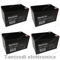 4x Batteria 14Ah 12V AGM Fotovoltaico nautica camper veicoli elettrici solare