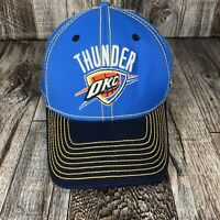 OKLAHOMA CITY THUNDER OKC Adidas Hat Cap Blue Yellow Stitch NBA Basketball Flex