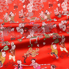 Retro Chinese Red Satin Print Damask Fabric Craft Material Sewing Cloth By Meter