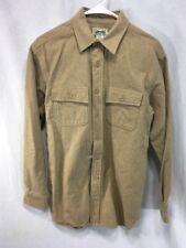 LL Bean Chamois Cloth Shirt Mens Small Beige Tan Brown Heavy Flannel L/S Cotton