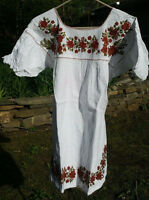 Maya Mexican Blouse Top Shirt Embroidered Flowers Chiapas White Small S #RF