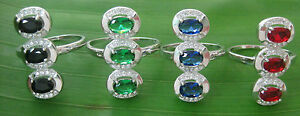100% REAL 925 sterling silver RED, BLUE, GREEN, BLACK Cz Women Ring size L M N Q