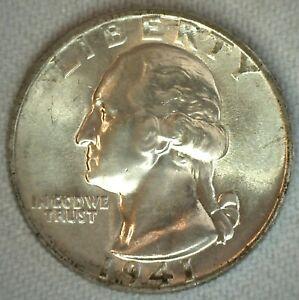 1941 BU Washington Quarter Uncirculated Twenty Five Cents Silver 25c Coin