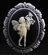 2 IN 1 Set of 2 Antiqued Silver Plated Garden Fairy Cameo Brooch Pins / Pendant