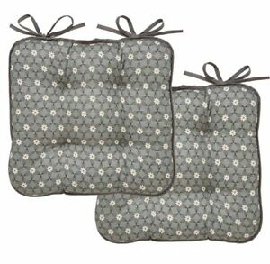 Set of 2 x GREY PURITY Daisy Flowers SEAT PAD Kitchen Chair Cushion