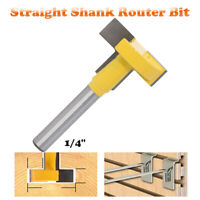 "1/4'' Shank T-Slot Cutter Router Bit 2"" Hex Bolt Woodworking Keyhole Tool New"