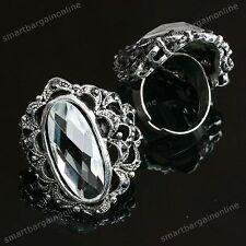 Vintage Crystal Gem Cocktail Band Finger Ring us7 Adjustable Lady Jewellery Gift
