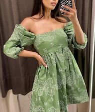 BNWT ZARA GRASS GREEN DRESS WITH CUTWORK EMBROIDERY DRESS SIZE Small