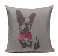Boston Terrier B8 Cushion Pillow Cover Hipster Glasses Bowtie Bow Tie Smart Dog