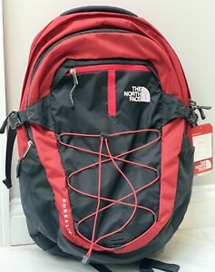 """The North Face Borealis Classic Backpack Red Gray 15"""" Laptop Bag Day Pack"""